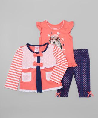 Nannette Girl Girls' Leggings CORAL - Coral Stripe & Lace Cardigan Set - Girls