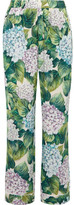 Dolce & Gabbana Floral-print Silk-blend Charmeuse Wide-leg Pants - Green