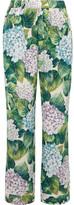 Dolce & Gabbana Ortensia Floral-print Silk-blend Charmeuse Wide-leg Pants - Green