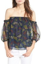 Ella Moss Women's Poetic Garden Off The Shoulder Silk Blouse