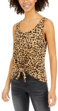 Rebellious One Juniors' Cheetah-Print Tie-Front Tank Top