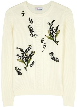 RED Valentino Cream Embroidered Wool Jumper