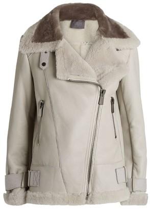Lorena Antoniazzi Shearling Side-Buckle Jacket