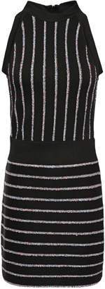 Balmain Sequin-embellished Striped Knitted Mini Dress