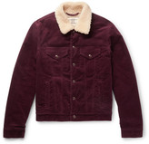 Kent & Curwen Scotney Slim-fit Shearling-trimmed Stretch-cotton Corduroy Jacket - Grape
