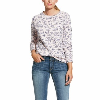 Ariat Ready Sweatshirt Womens Top Small Bridal Rose Toile