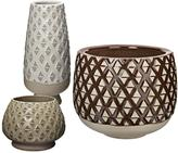 10 in. and 12 in. Two Tone Lattice Earthenware Decorative Vases in Neutral Glazes (Set of 3)