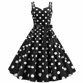 Imekis Women Sleeveless Polka Dots Dress Sweetheart Neckline A Line Fit and Flare Summer Casual Midi Dress Holiday Beach Sundress Vintage Swing Formal Party Ball Gown Red 2XL