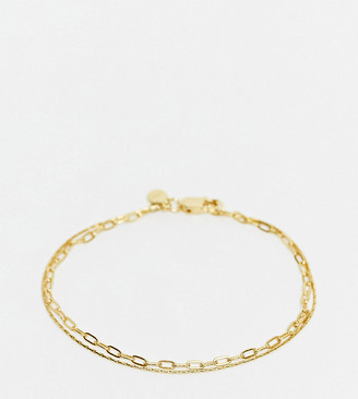 Astrid & Miyu double chain bracelet in sterling silver 18ct gold plated