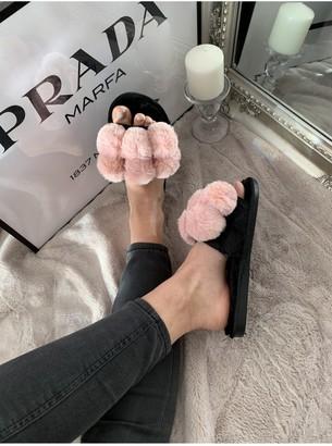 Pink Faux-Fur Pom-Pom Slider Slippers