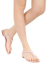Rene Caovilla 10mm Pearls Bow Leather Sandals