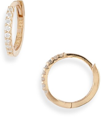 Anzie Cleo Mini Pave Diamond Huggie Hoop Earrings