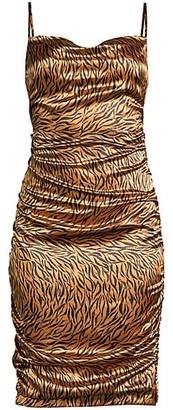 LIKELY Alessia Zebra Draped Dress