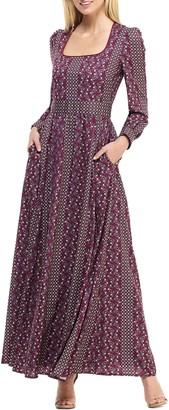 Gal Meets Glam Freya Print Long Sleeve Maxi Dress