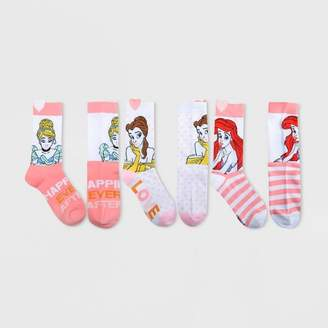 Disney Women's Princess Valentine's Day 3pk Crew Socks Box - White 9-11