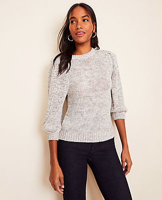 Ann Taylor Marled 3/4 Sleeve Sweater