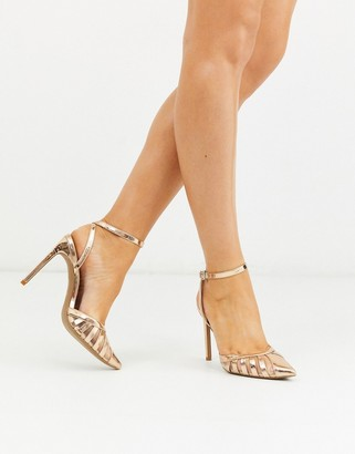 ASOS DESIGN Perfection cut out stiletto heels in rose gold