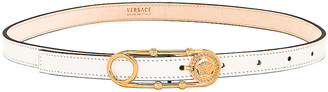 Versace Skinny Leather Belt in White & Gold | FWRD