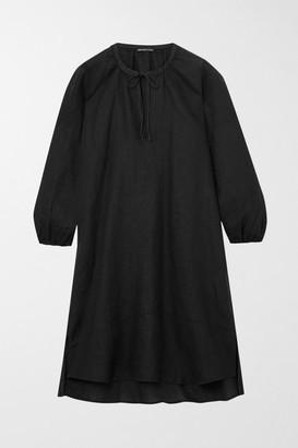James Perse Tie-detailed Linen Mini Dress - Black