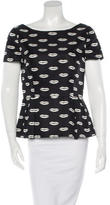 Prada Lip Print Short Sleeve Top