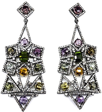Arthur Marder Fine Jewelry 14K & Silver 15.42 Ct. Tw. Diamond & Tourmaline Earrings