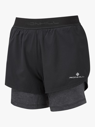 Ronhill Tech Twin Running Shorts, Black/Charcoal Marl