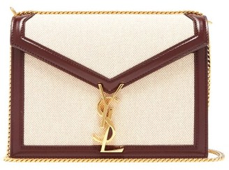 Saint Laurent Cassandra Leather-trimmed Canvas Shoulder Bag - Womens - Beige Multi
