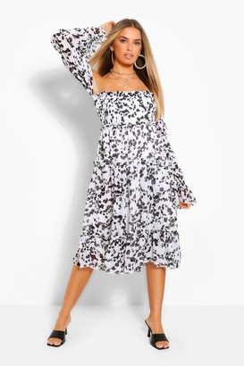 boohoo Smudge Print Off The Shoulder Midi Smock Dress