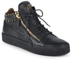 Giuseppe Zanotti Pierced Collar Leather Sneakers