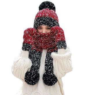 Mumustar 1 3Pcs/Set Women Winter Beanie Hat + Scarf + Gloves Chunky Knitted Warm Slouchy Caps Headwear Scarves Fullfinger Mittens Mumustar (Wine)