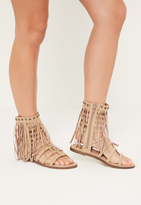 Missguided Nude Tassel Ankle Cuff Gladiator Shoes