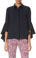 Carolina Herrera Silk Georgette Ruffle-Sleeve Blouse, Blue