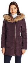 Cole Haan Women's Signature Quilted Exposed Down with Faux Fur Trim and Lining