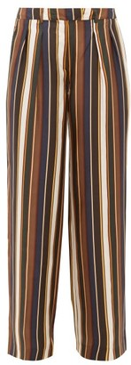 La Prestic Ouiston Marlene Striped Silk-satin Trousers - Brown Multi
