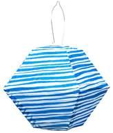 ALLSOP Home and Garden Blue/White Printed Stripe Soji Rhombus Lantern