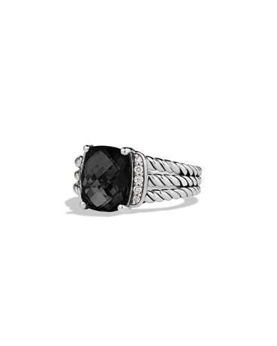 David Yurman Petite Wheaton Ring with Black Onyx and Diamonds