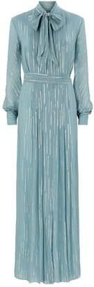 Luisa Beccaria Stripe Tie-Neck Gown