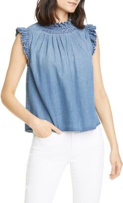 Frame Ruffle Trim Chambray Top