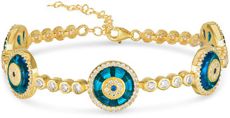 Sphera Milano 18K Yellow Gold Over Silver Cz Evil Eye Blue Glass Linked Tennis Bracelet