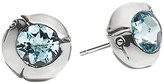 John Hardy Sterling Silver Bamboo Small Round Stud Earrings with Sky Blue Topaz