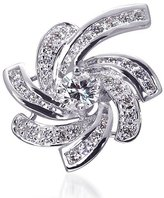 Peora Retro Style Sterling Rhodium Nickel Finish CZ Swirling Lights Brooch