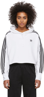 adidas White Cropped Hoodie
