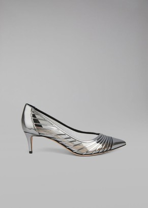 Giorgio Armani Metallic Wet-Look Leather Pump With Vinyl Inserts