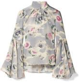 Co Floral-print Silk Crepe De Chine Top - Sky blue