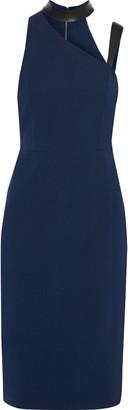 Alice + Olivia Jona Cutout Leather-trimmed Cady Dress