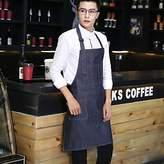 Lanlan Fashion Denim Apron with Pockets Adjustable Unisex Kitchen Coffee Shop Uniforms Blue-gray; Blue-gray