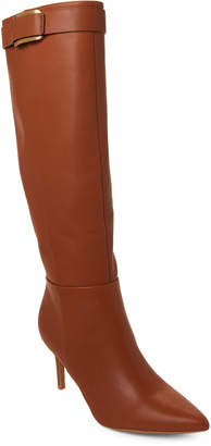 Calvin Klein Cognac Glydia Pointed Toe Leather Tall Boots