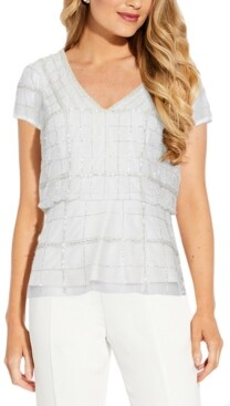 Adrianna Papell Beaded Blouson Top