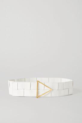 Bottega Veneta Intrecciato Leather Waist Belt - White