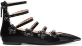 Fendi Embellished Floral-appliquéd Patent-leather Point-toe Flats - Black